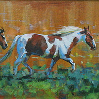 Race to the Barn Oil 12x24 2010 by Brian  Buckrell