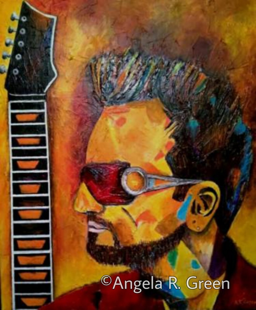 Acrylic painting Guys with Guitars #4 by Angela  Green