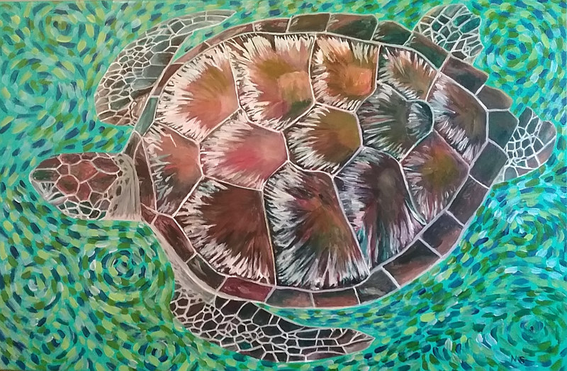 Painting Green Turtle  by Nancy Sharp