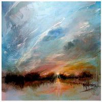 Black Tar, Sunset,oil on canvas, 24x24 by Anne Farrall Doyle