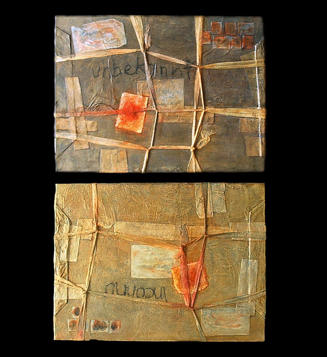 Acrylic painting War Parcels (diptych) by Linda Finn
