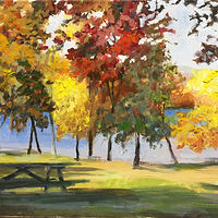Oil painting Squantz Pond in Fall by Betty Ann  Medeiros