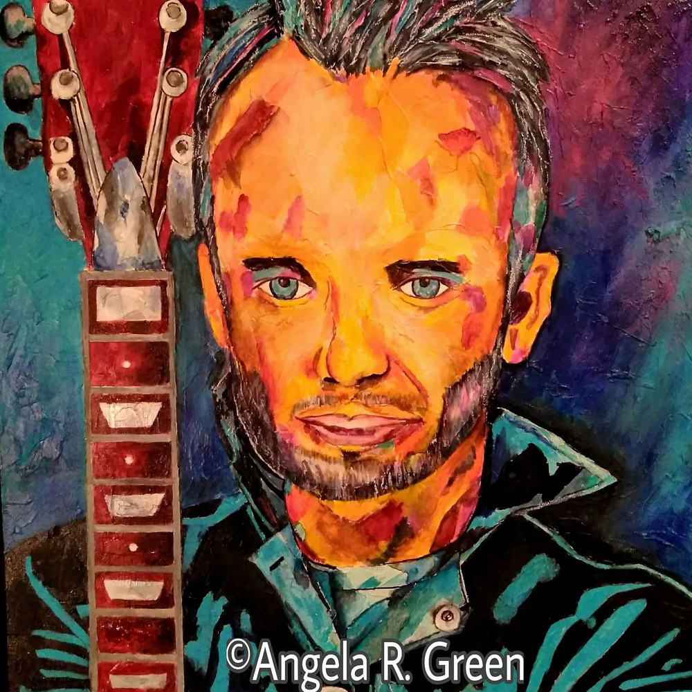Painting Guys with Guitars #5 by Angela  Green