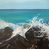 Oil painting Crashing wave on rocks by Timothy Innamorato