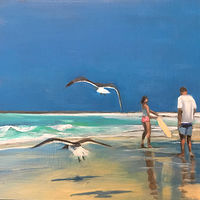 Oil painting Beach moment by Timothy Innamorato