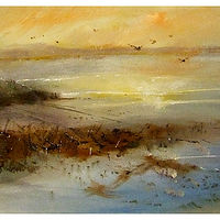 Morning Rising oil on canvas, 12x36 by Anne Farrall Doyle