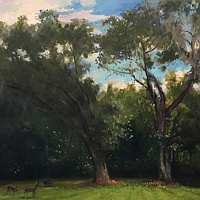 Oil painting Deer Trees Sky by Noah Verrier