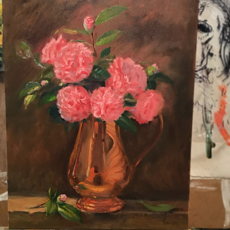 Oil painting Pink Camelia by Noah Verrier