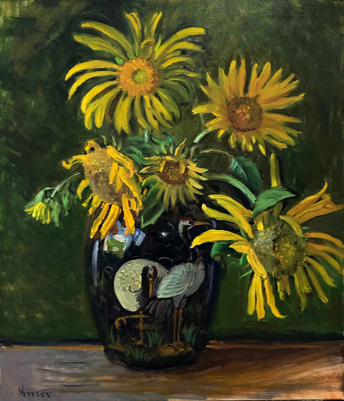 Oil painting Sunflowers in a Bird Vase by Noah Verrier