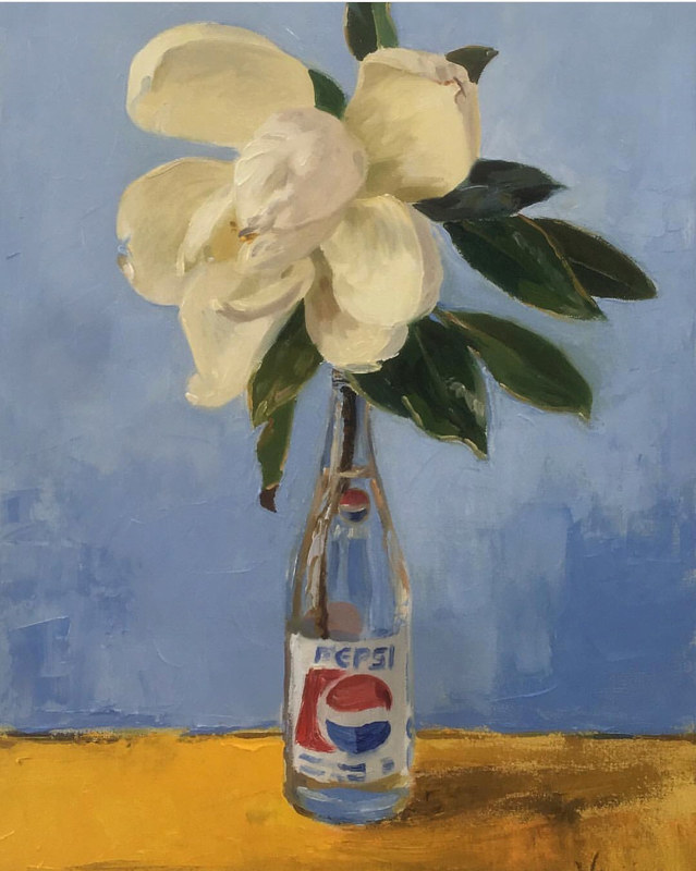 Oil painting Magnolia in a Pepsi Bottle by Noah Verrier