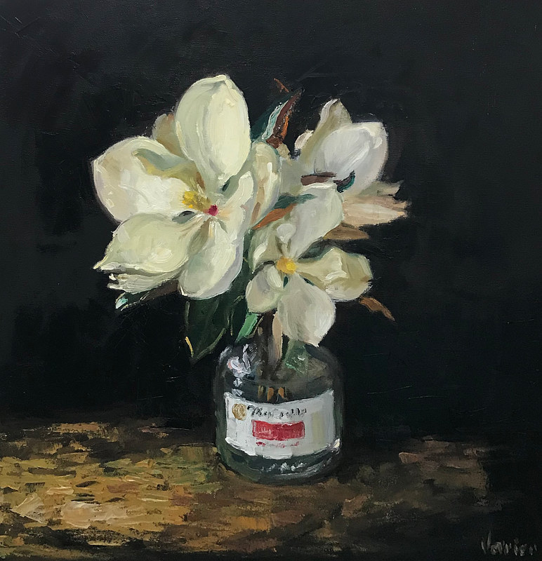 Oil painting Magnolias in an Apple Juice Jug by Noah Verrier