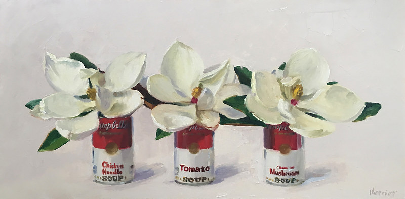 Oil painting Magnolias in Campbells Soup Cans by Noah Verrier