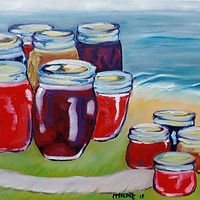 Oil painting My sisters are home canning by Michelle Marcotte