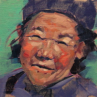 Tibetan Smile Oil 6x6 2012 by Brian  Buckrell