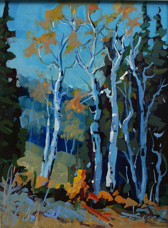 Blue Birch Acrylic on Canvas 9x12 2009 by Brian  Buckrell
