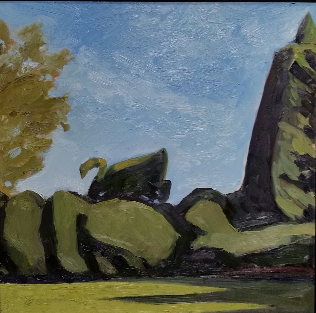 Swan Hedge at Ladew 9x12 oil by Michael  Gaudreau