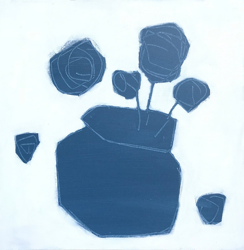 Acrylic painting Flowers in Blue by Sarah Trundle
