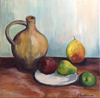 Acrylic painting Cezanne still life by June Long-schuman