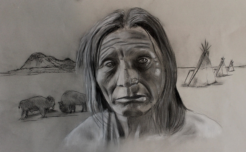 Drawing Chief Big Head by Steve Latimer