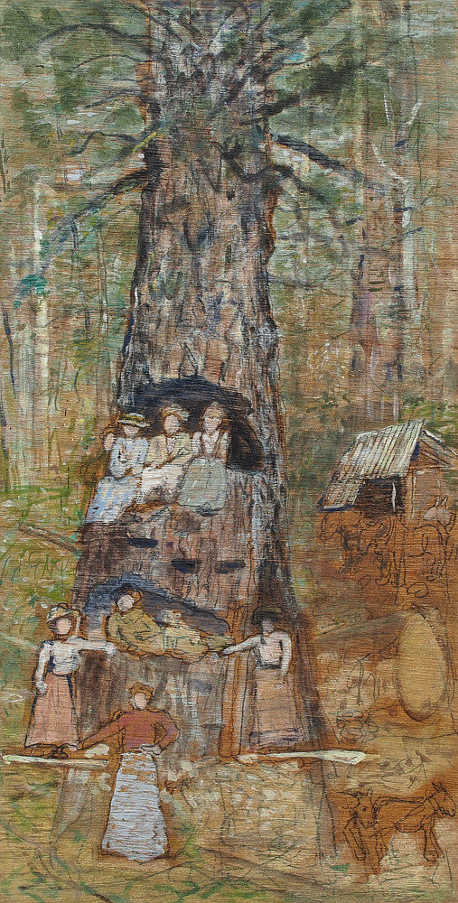 Women Posing in Tree (on wood) by Dennis Worrel