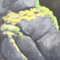 Acrylic painting Mossy Rocks by Aimee Rudge