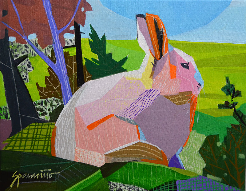 "Acrylic painting ""Rabbit Lookout"" by Jennifer Sparacino"