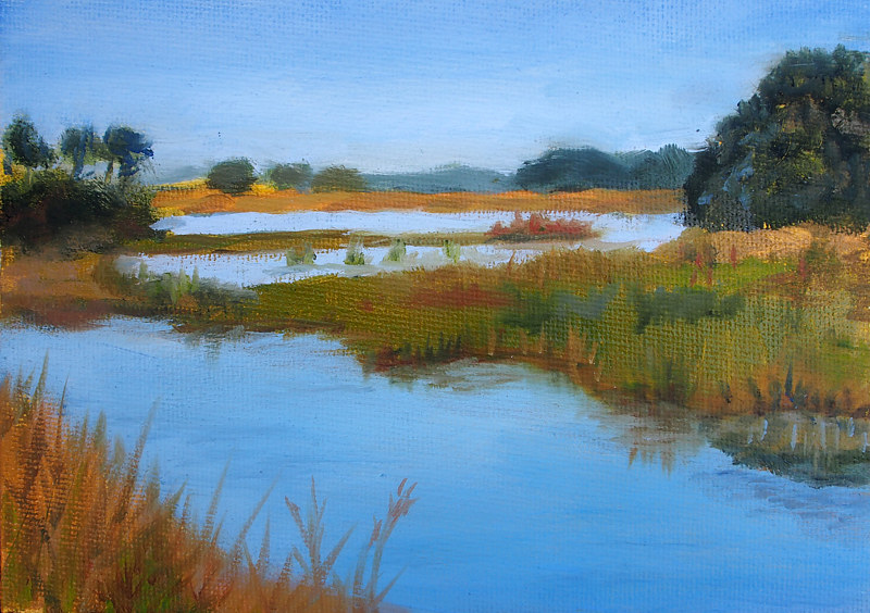 Oil painting Back Bay to False Cape Trail by Michele Barnes