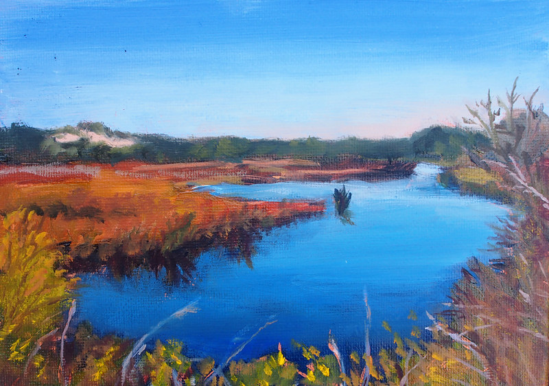 Oil painting Back Bay by Michele Barnes