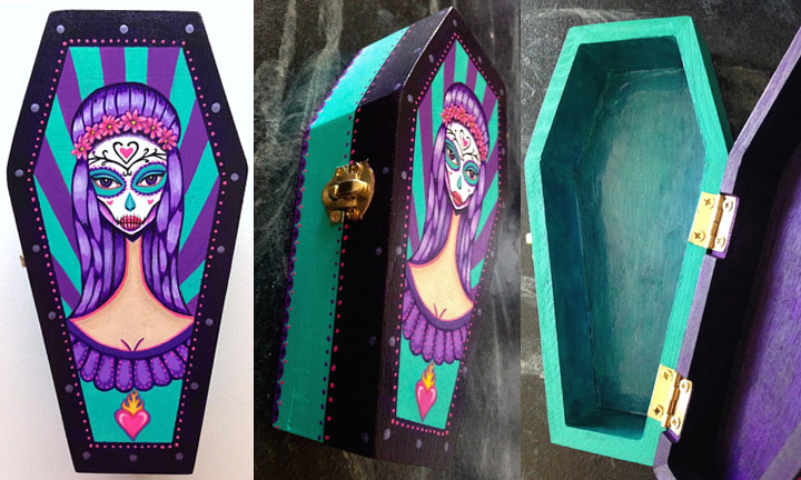 Acrylic painting Day Of The Dead Mini Coffin Box by Yumi Knight