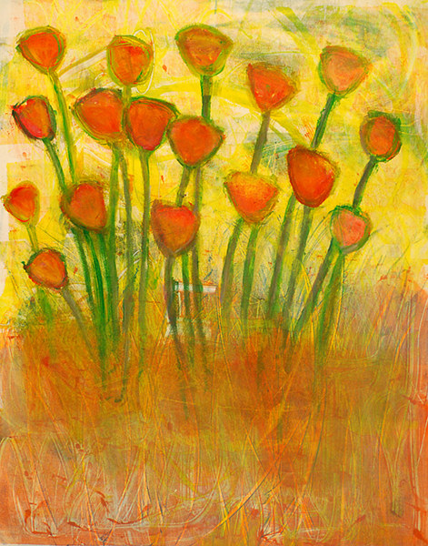 Painting Amy Kaufman, Flowers in Field by Amy Kaufman