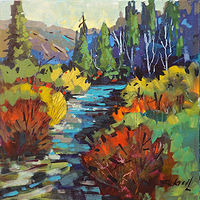 Autumn Stream  Acrylic 18x18 2018 by Brian  Buckrell