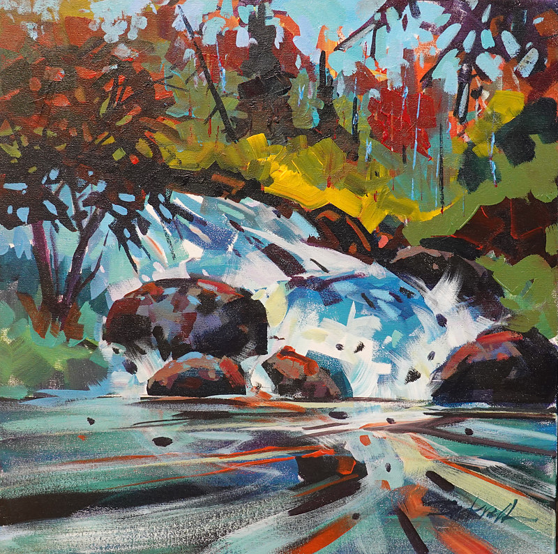 Up Stream  Acrylic 18x18 2018 by Brian  Buckrell