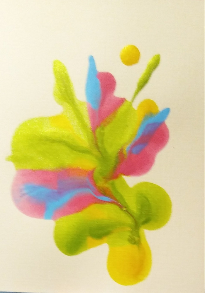 Plain Card#4/ Caribbean Blue/ Yellow/ Pink and Lime by Georgette  Jones