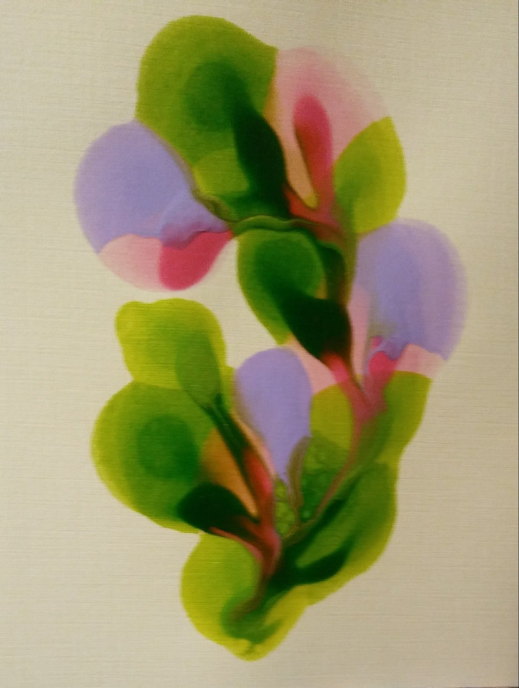 Plain Card #7/ Lime/ Tropical Green/ Lavender and Pink. by Georgette  Jones