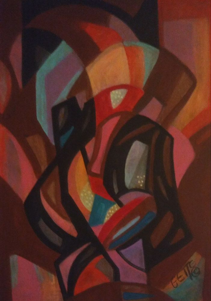 Acrylic painting DECISIVE FORMS by Georgette  Jones