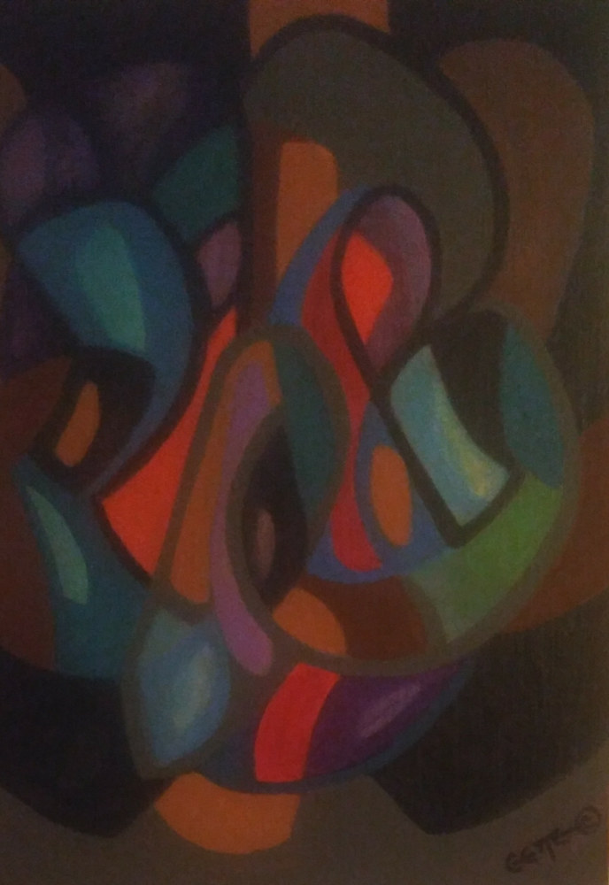Acrylic painting DECISIVE FORMS #2 by Georgette  Jones