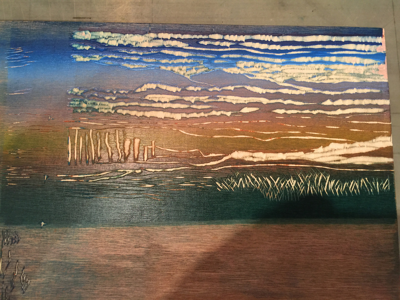 woodcut printing matrix for second run by Cathie Crawford