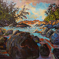 Wikaninnish Island Evening Acrylic 30x36 2018 by Brian  Buckrell