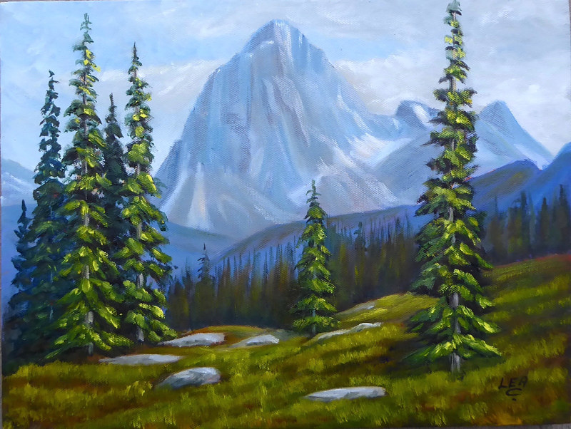 Oil painting Alpine Peace by Cecilia Lea