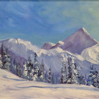 Oil painting Skier's Heaven by Cecilia Lea