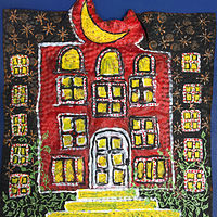 Mixed-media artwork The Red House by Diane Green