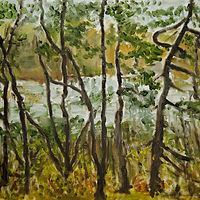 Oil painting Through the Trees by Marc Brisson