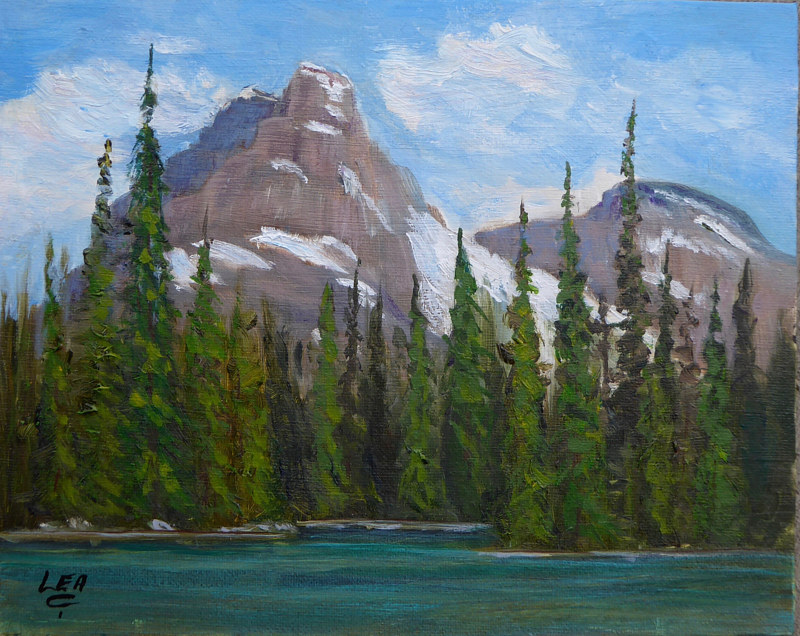 Acrylic painting Cathedral Mountain from Lower Lake O'Hara by Cecilia Lea