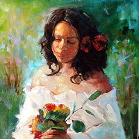 Flower Girl   Oil 18x24 2007 by Brian  Buckrell