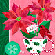 Christmas Poinsettias with Cardinal by Valerie Lesiak