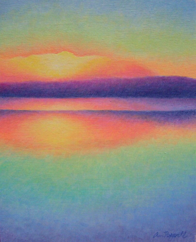 Acrylic painting Camano Sunset by Anne Popperwell