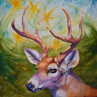 Watercolor Deer Stars by Lisa  Baechtle