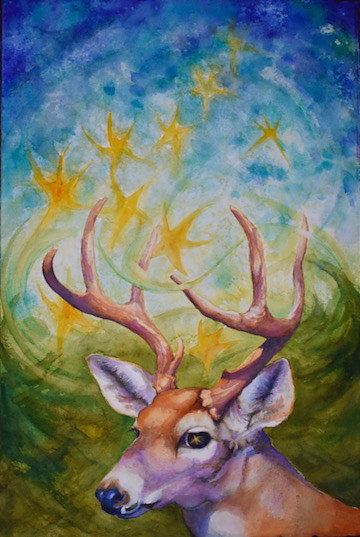 Print Deer Stars by Lisa  Baechtle