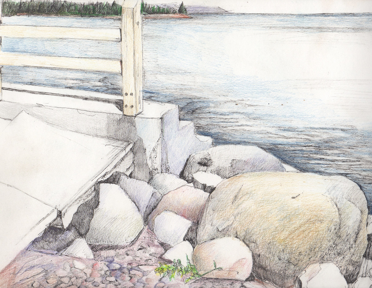 Drawing Grand Marais by Joel Abramson