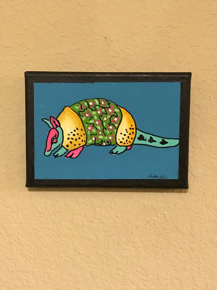 Acrylic painting canvas armadillo  by Nippy Blair